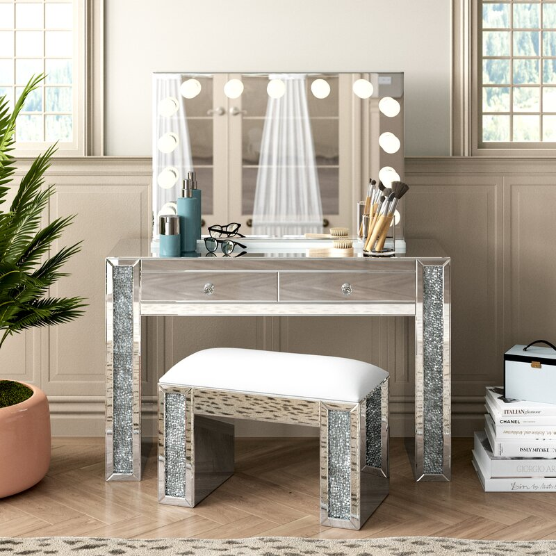 Everly Quinn Alday Glam Diamonds Makeup Station Vanity Set With Mirror Reviews Wayfair