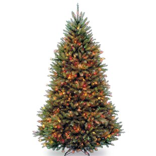 dunhill powerconnect 65 green fir artificial christmas tree with 600 led colored and white lights with stand - Pre Lit And Decorated Christmas Trees