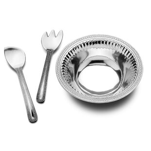 3 Piece Flutes and Pearls Salad Serving Utensil Set
