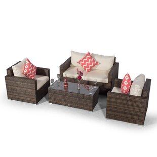 Villatoro Brown Rattan 2 Seat Sofa + 2 X Armchairs & Rectangle Coffee Table, Outdoor Patio Garden Furniture Image