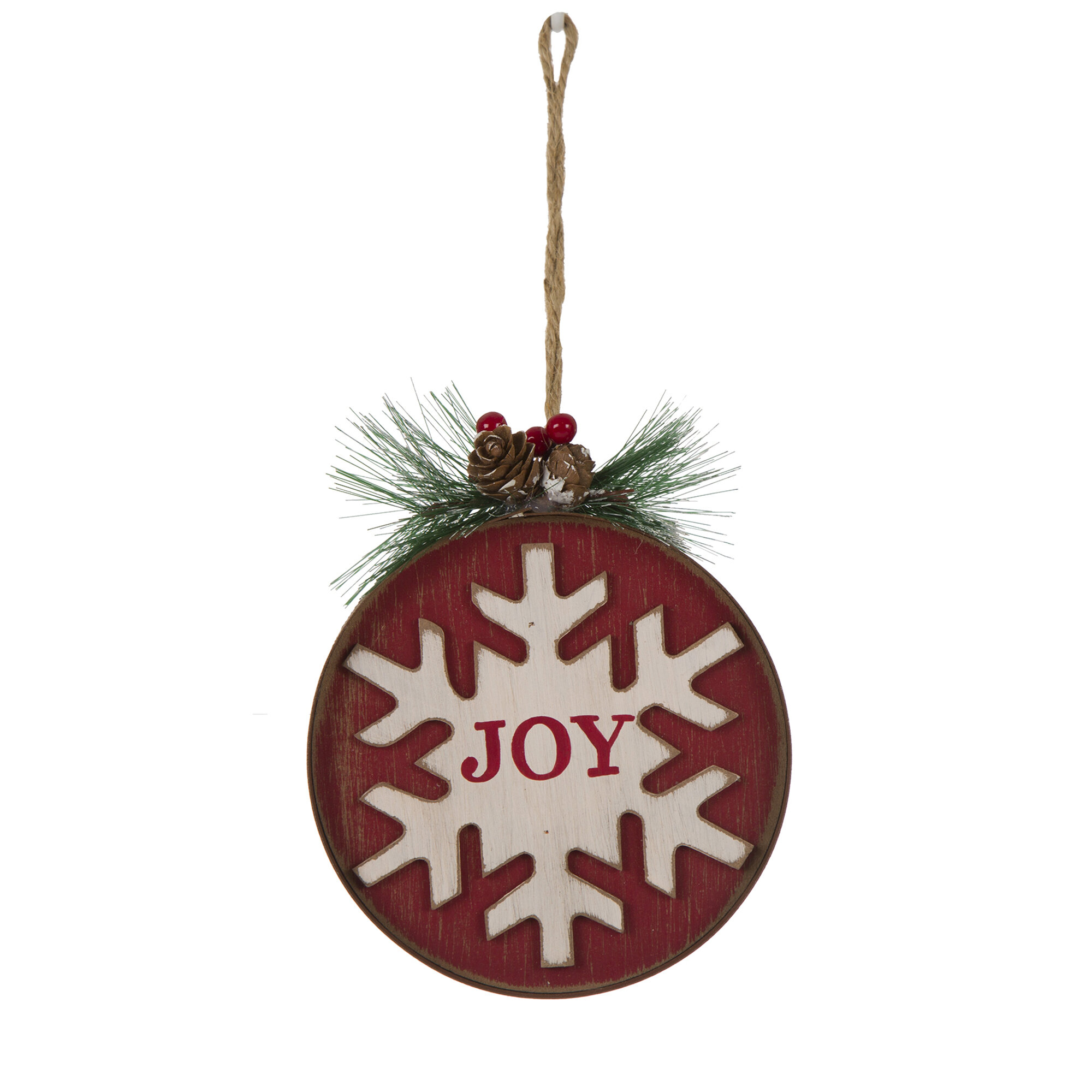 Joy\' Wooden and Iron Christmas Ornament & Reviews | Joss & Main