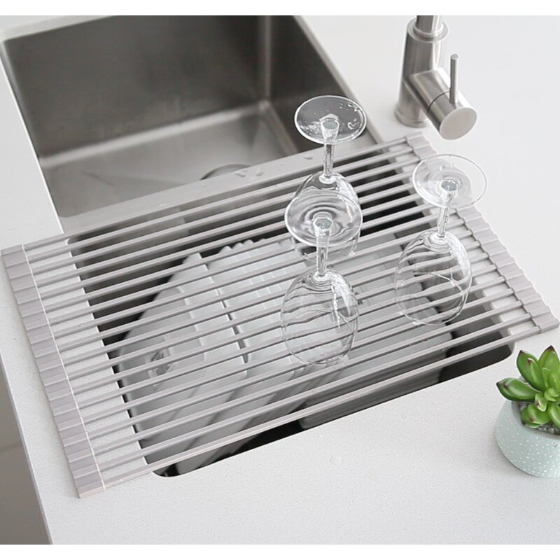Stylish Stainless Steel Over The Sink Dish Rack Reviews Wayfair