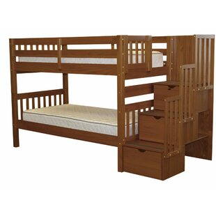 Tena Twin Over Twin Stairway Bunk Bed with Storage
