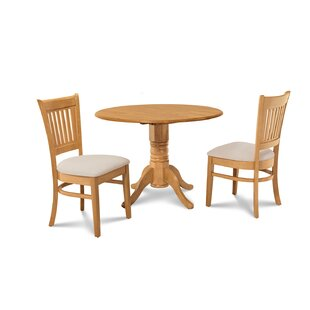 Chesterton Transitional 3 Piece Oak Solid Wood Dining Set by Alcott Hill