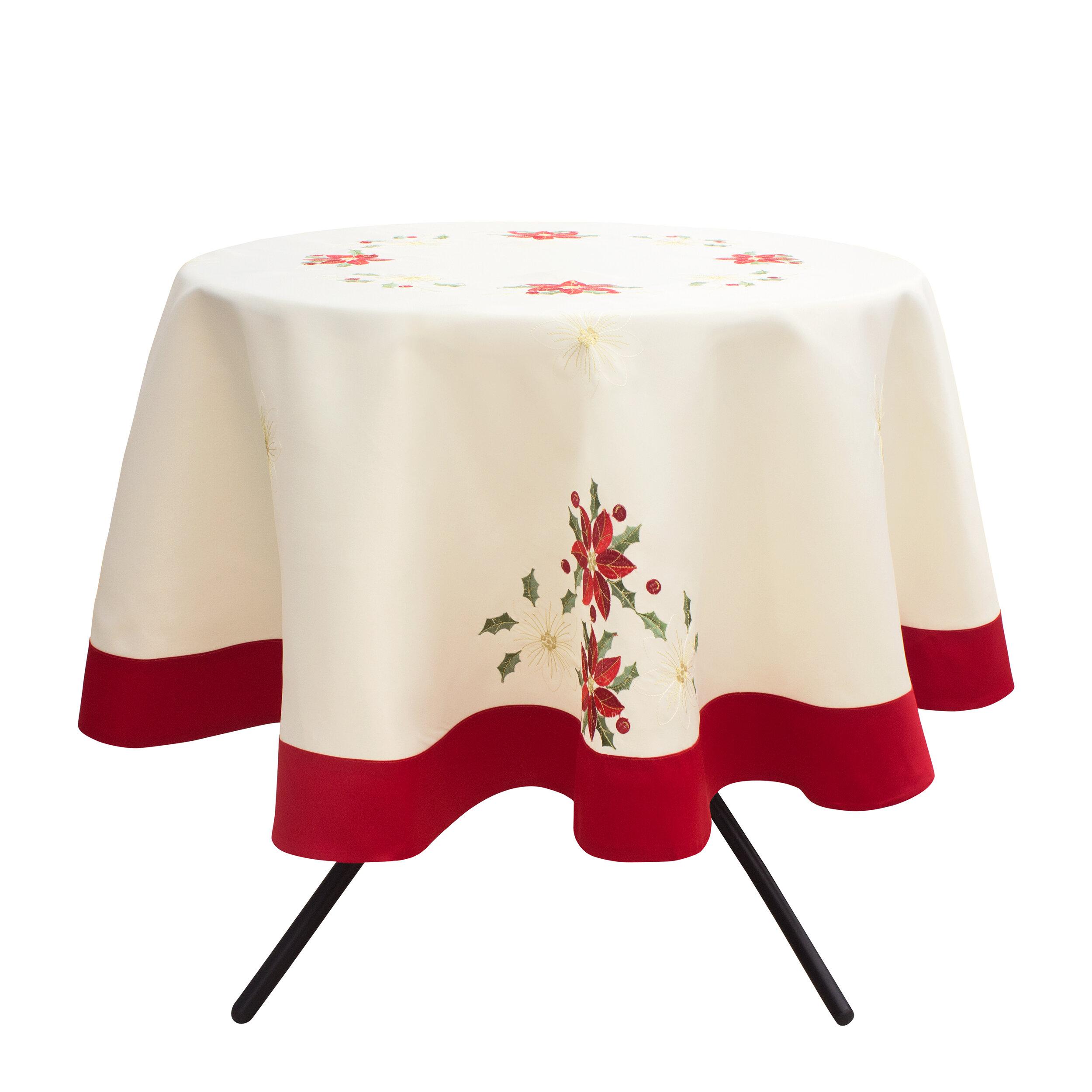 The Holiday Aisle Holiday Poinsettia Tablecloth | Wayfair