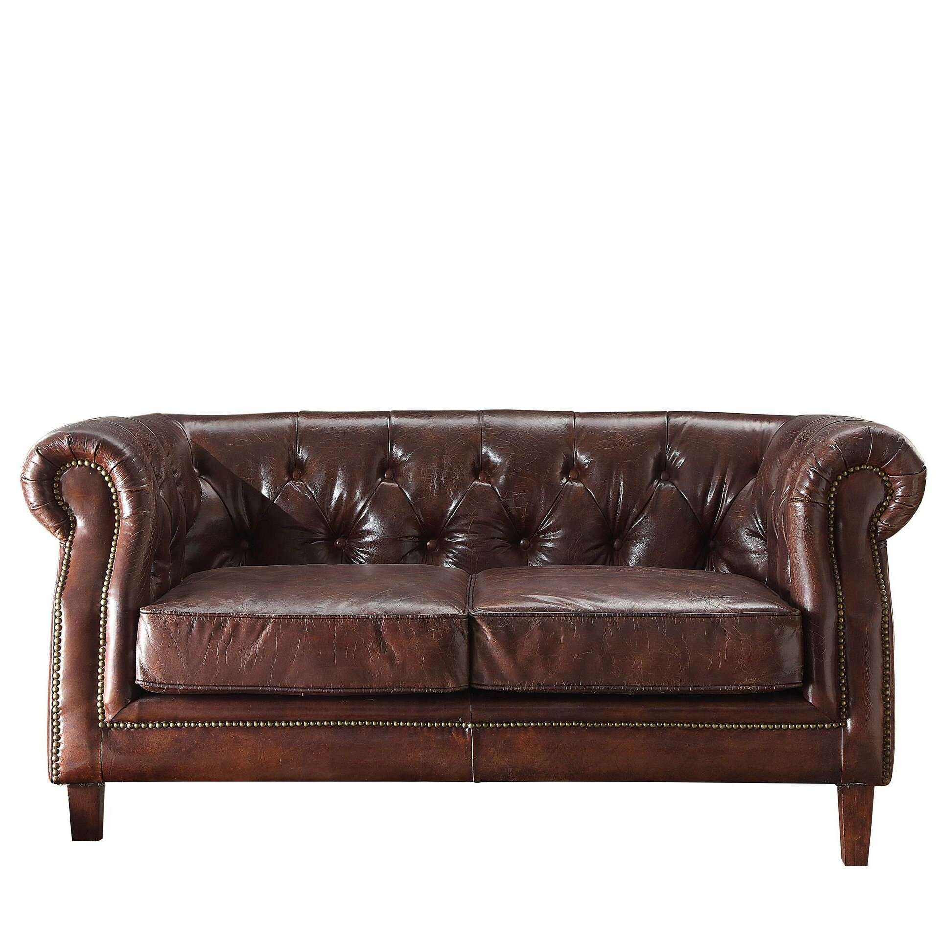 80561114d91c Williston Forge Kasha Top Grain Leather Chesterfield Loveseat Wayfair