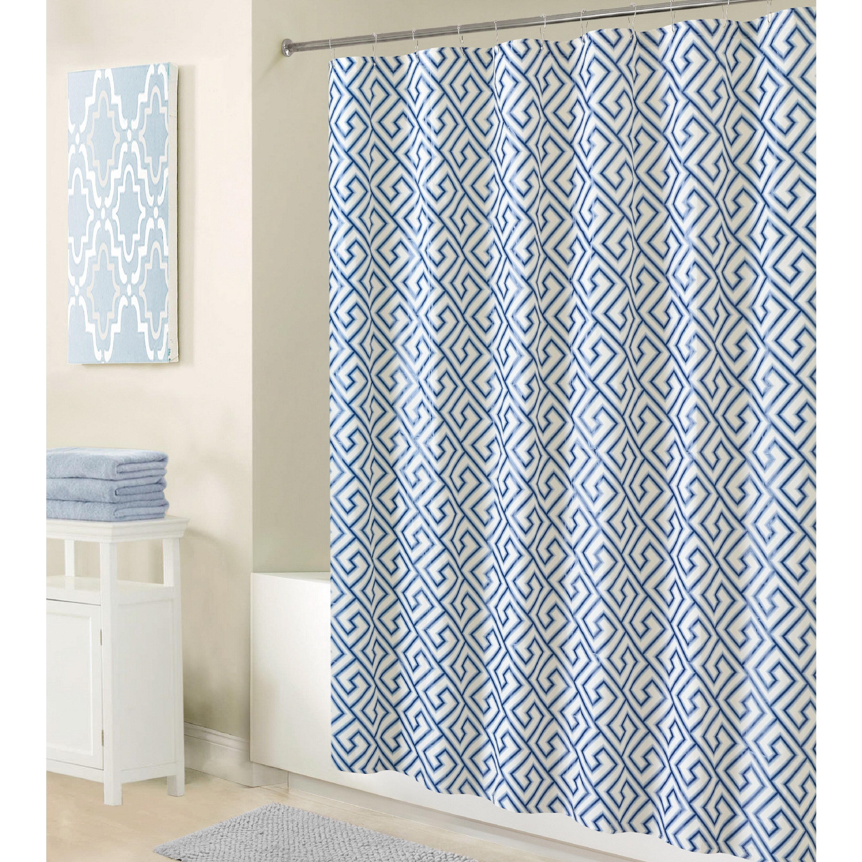 Bath Bliss PEVA Greek Key Design Shower Curtain | Wayfair