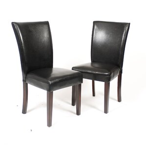 Black Leatherette Parson Chair (Set of 2) by Roundhill Furniture