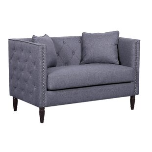 Adairsville Linen Tufted Nailhead Trim Chesterfield Loveseat
