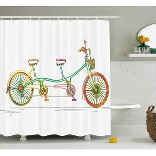 Laurie Ative Colorful Tandem Bicycle Design on White Background Pattern Clipart Style Print Single Shower Curtain