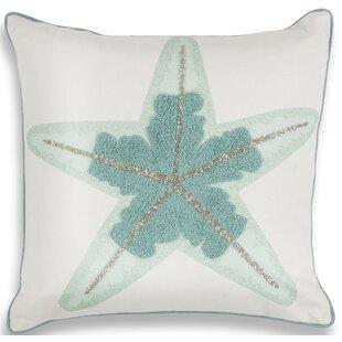 Chamberlain Aqua Starfish Linen Throw Pillow