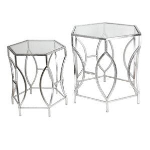 Ariane 2 Piece Iron & Glass End Table Set by..