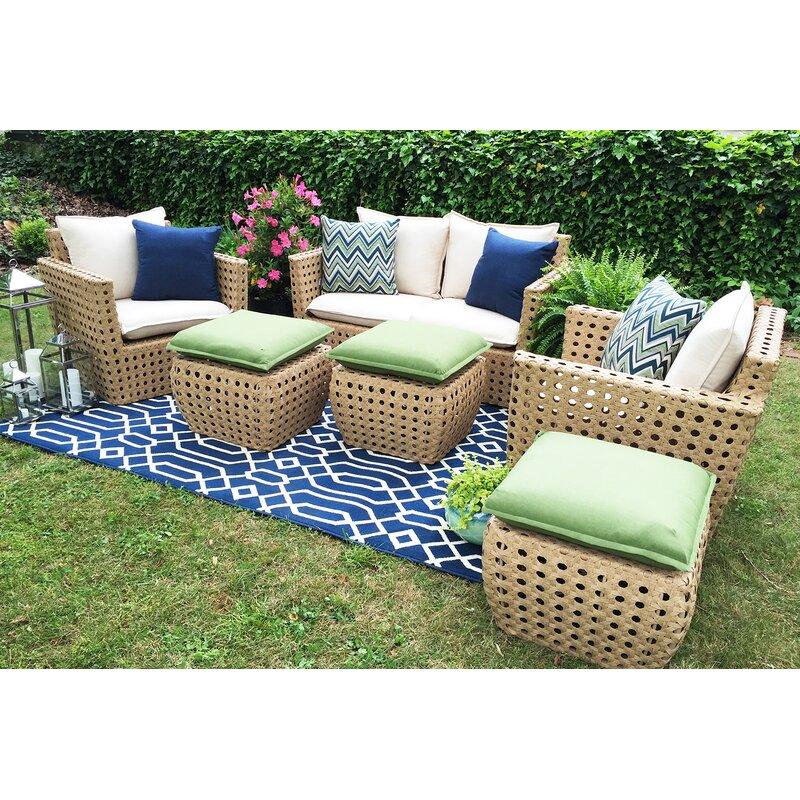Ae Outdoor Bethany 6 Piece Sunbrella Sofa Set With Cushions Reviews Wayfair