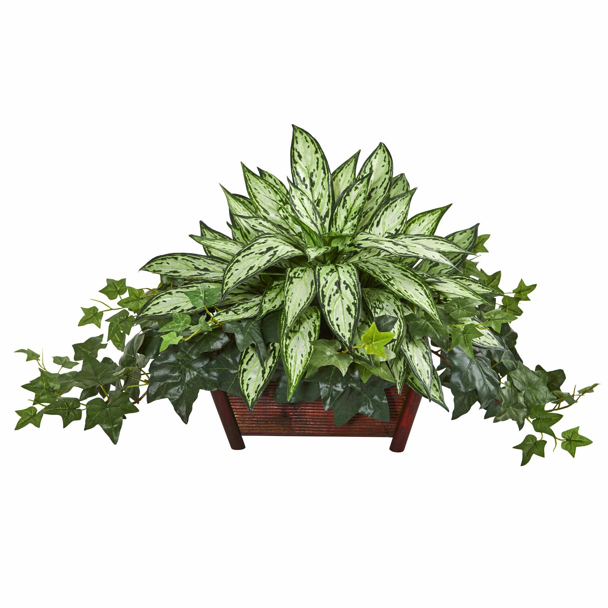 Wrought Studio Artificial Foliage Plant In Basket Reviews Wayfair