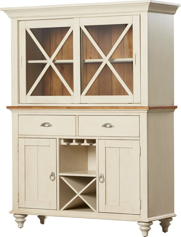 default_name - Beachcrest Home Solid Pine Lighted China Cabinet Hutch & Reviews