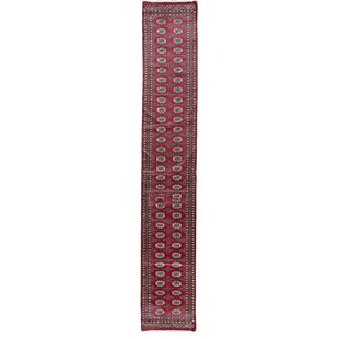Price comparison One-of-a-Kind Mori Princess Hand-Knotted 2'6 x 18'8 Wool Red/Black Area Rug ByBokara Rug Co., Inc.
