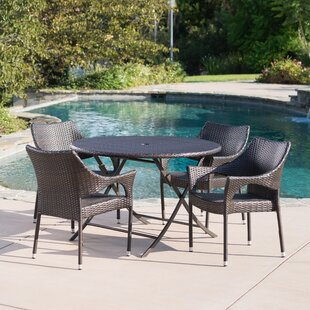 Vijay Outdoor Wicker 5 Piece Dining Set