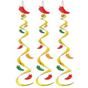 Decorative Chili Plastic Disposable Pepper Whirls (Set of 6)
