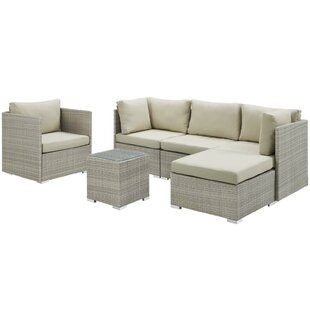 Heinrich Outdoor Patio 6 Piece Rattan Sectional Seating Group With Sunbrella Cushions by Highland Dunes Great price