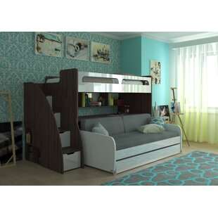 Gautreau Twin Futon Bunk Bed with Bookcase by Brayden Studio