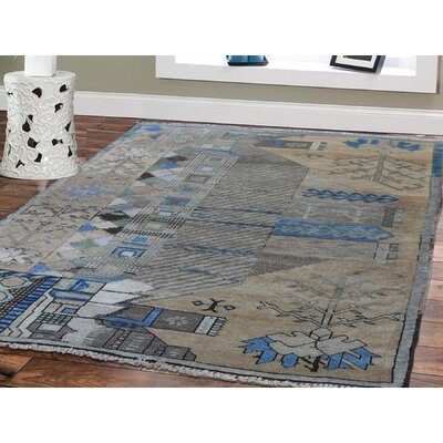 Isabelline One-of-a-Kind Flory Baluch Pure Hand-Knotted 3' x 4'3 Wool Brown/Blue Area Rug