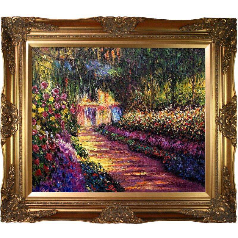 U0027Pathway In Monetu0027s Garden At Givernyu0027 By Claude Monet Horizontal Framed  Painting. U0027