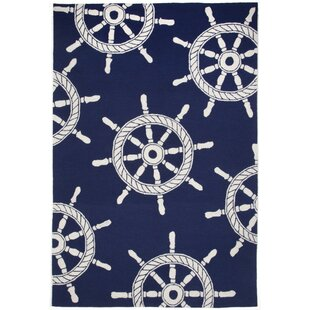 Walton Ship Wheel Navy Indoor/Outdoor Area Rug
