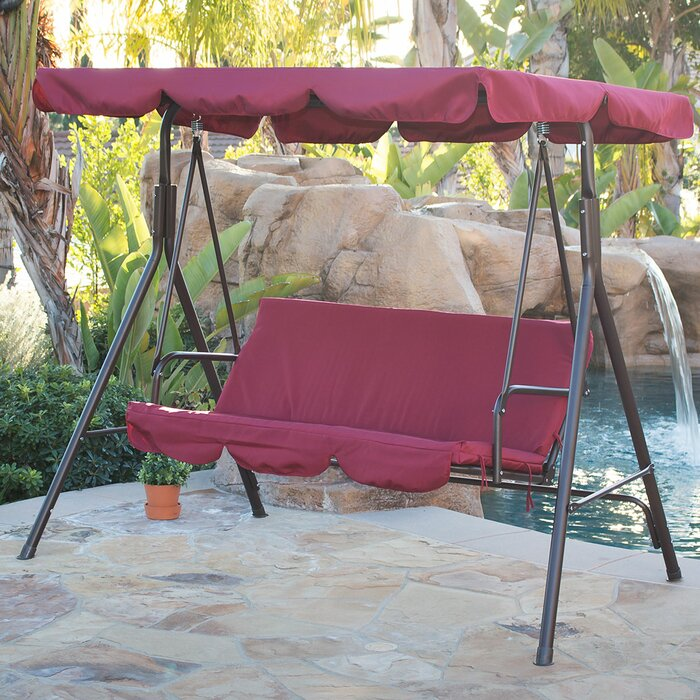 Belleze Canopy Porch Swing With Stand Reviews Wayfair