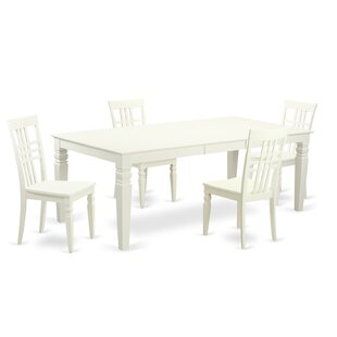 Beesley 5 Piece White Wood Dining Set DarHome Co