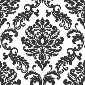 Ariel Black and White Damask Peel And Stick Wallpaper Roll
