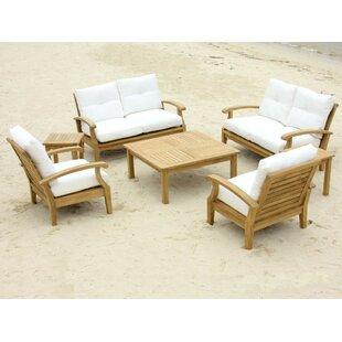 Douglas Nance Cayman 7 Piece Teak Sofa Seating Group with Sunbrella Cushions