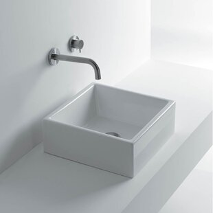 WS Bath Collections Tank Ceramic Square Vessel Bathroom Sink