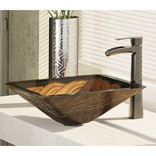 Affordable Metallic Glass Square Vessel Bathroom Sink with Faucet By René By Elkay
