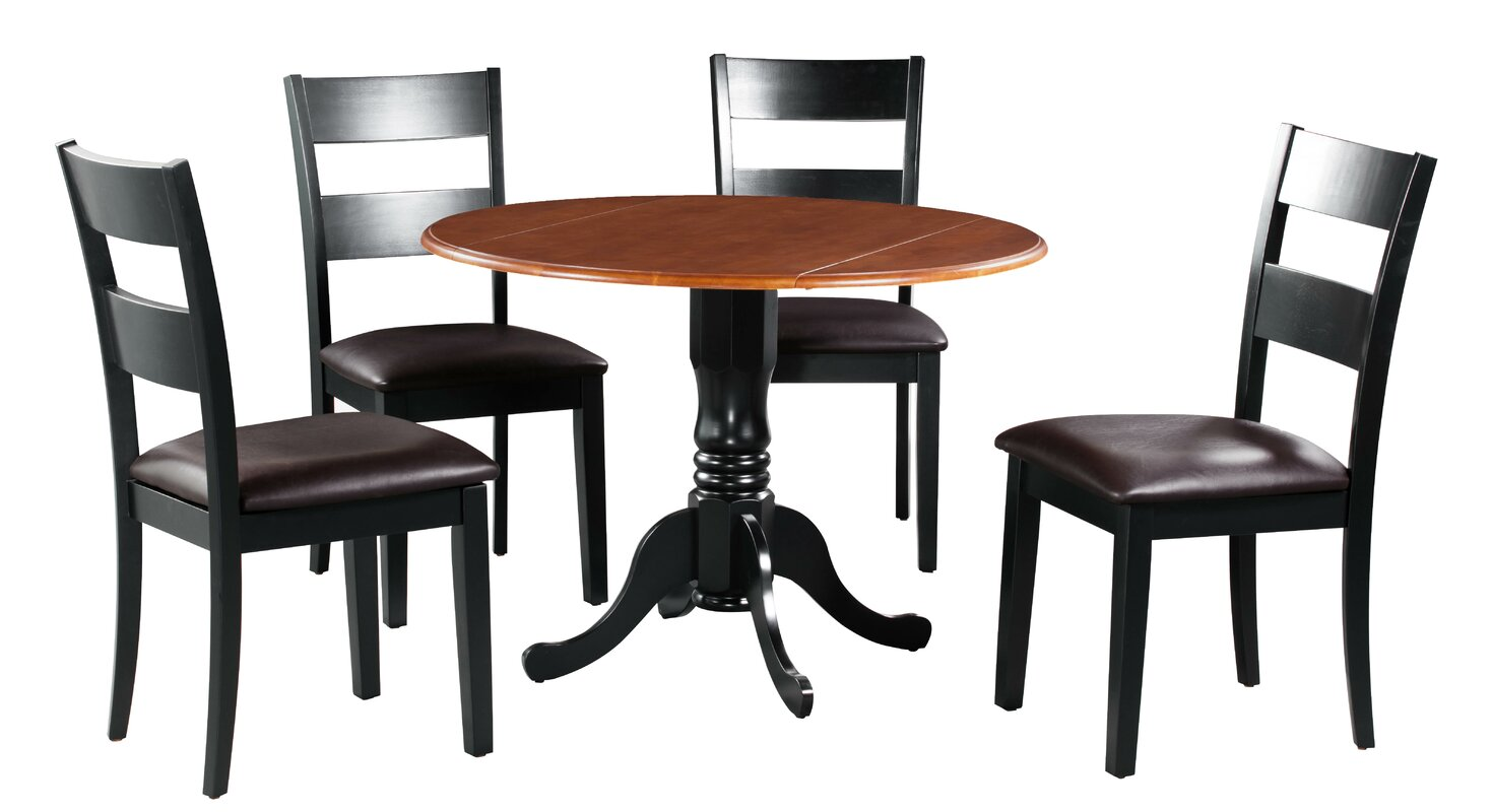August Grove Shorewood 5 Piece Drop Leaf Solid Wood Dining Set