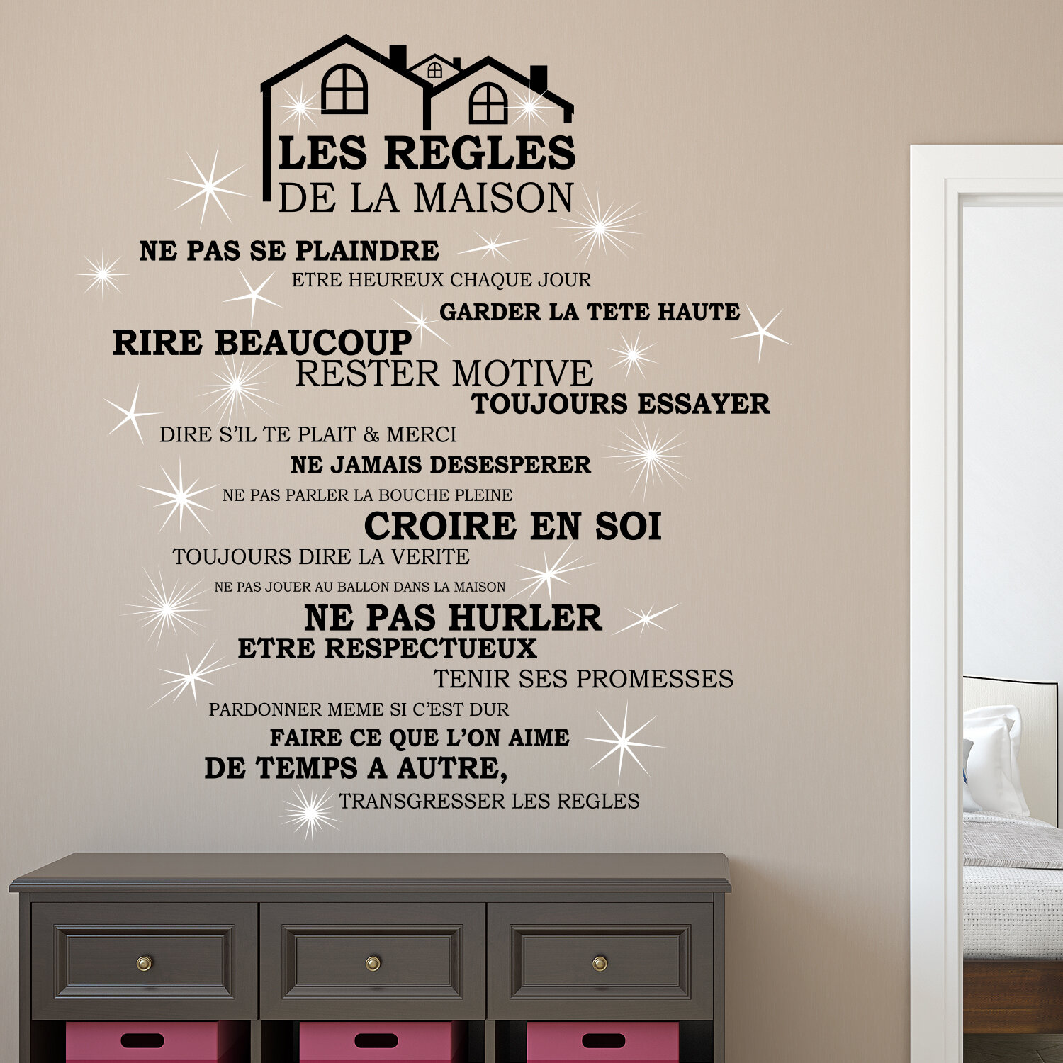 Winston Porter Rooftop House Rules And Crystal Wall Decal Wayfair