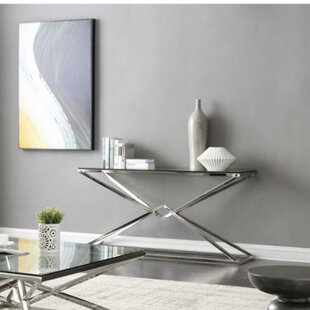 Coble Rectangular Glass and Stainless Steel Console Table