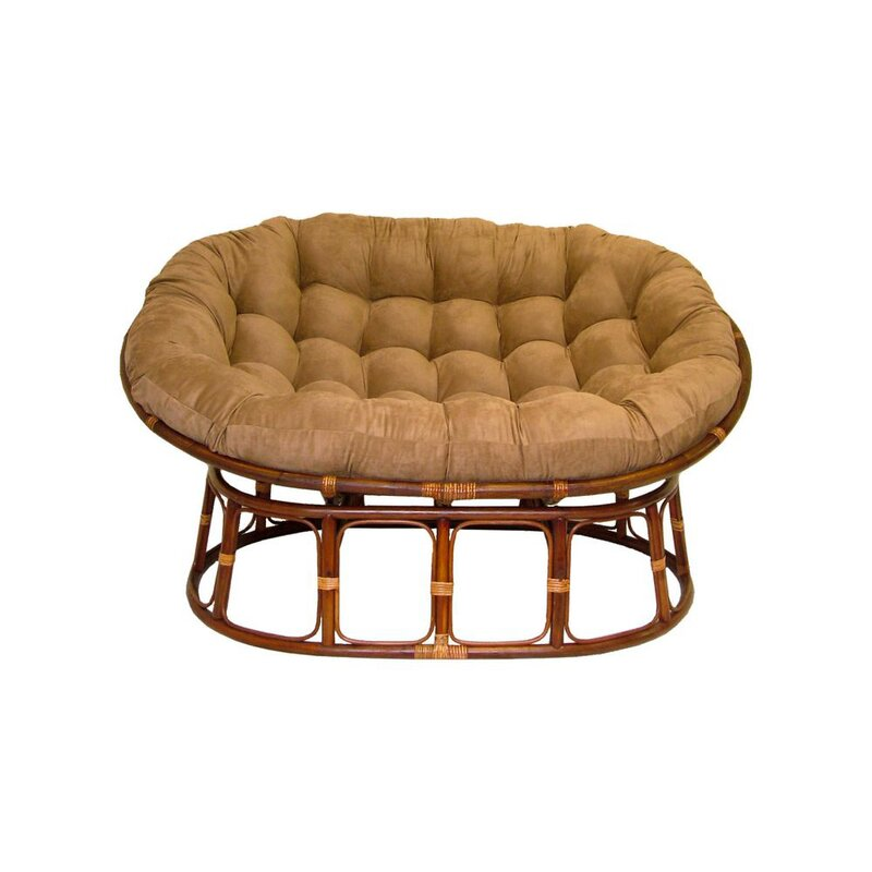 gregoria rattan double papasan chair with micro suede cushion