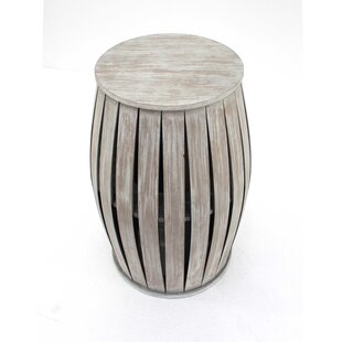 Melodie Wooden Barrel End Table by Highland Dunes
