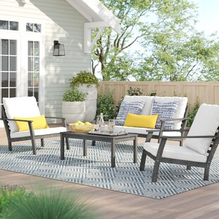 Manchester Outdoor Patio Hand Scraped Wood Sofa Set with Cushions