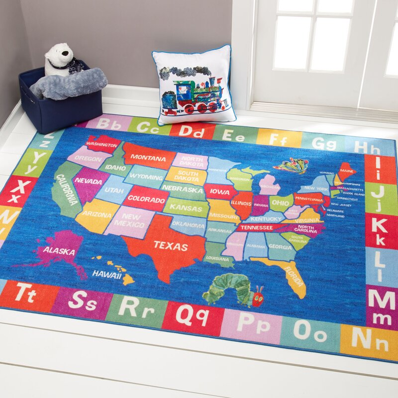 Eric Carle US Map with Alphabet Educational Blue Area Rug
