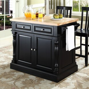 Haslingden Kitchen Island Set with Butcher Block Top Three Posts