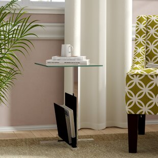 Bilodeau Modern Metal And Glass Side Table With Storage By Metro Lane