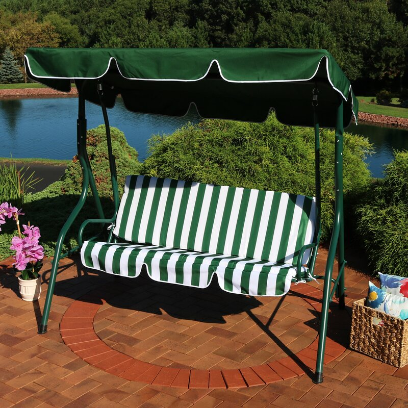 Winston Porter Sunseri 3 Person Striped Seat Outdoor Canopy Patio Porch Swing Reviews Wayfair