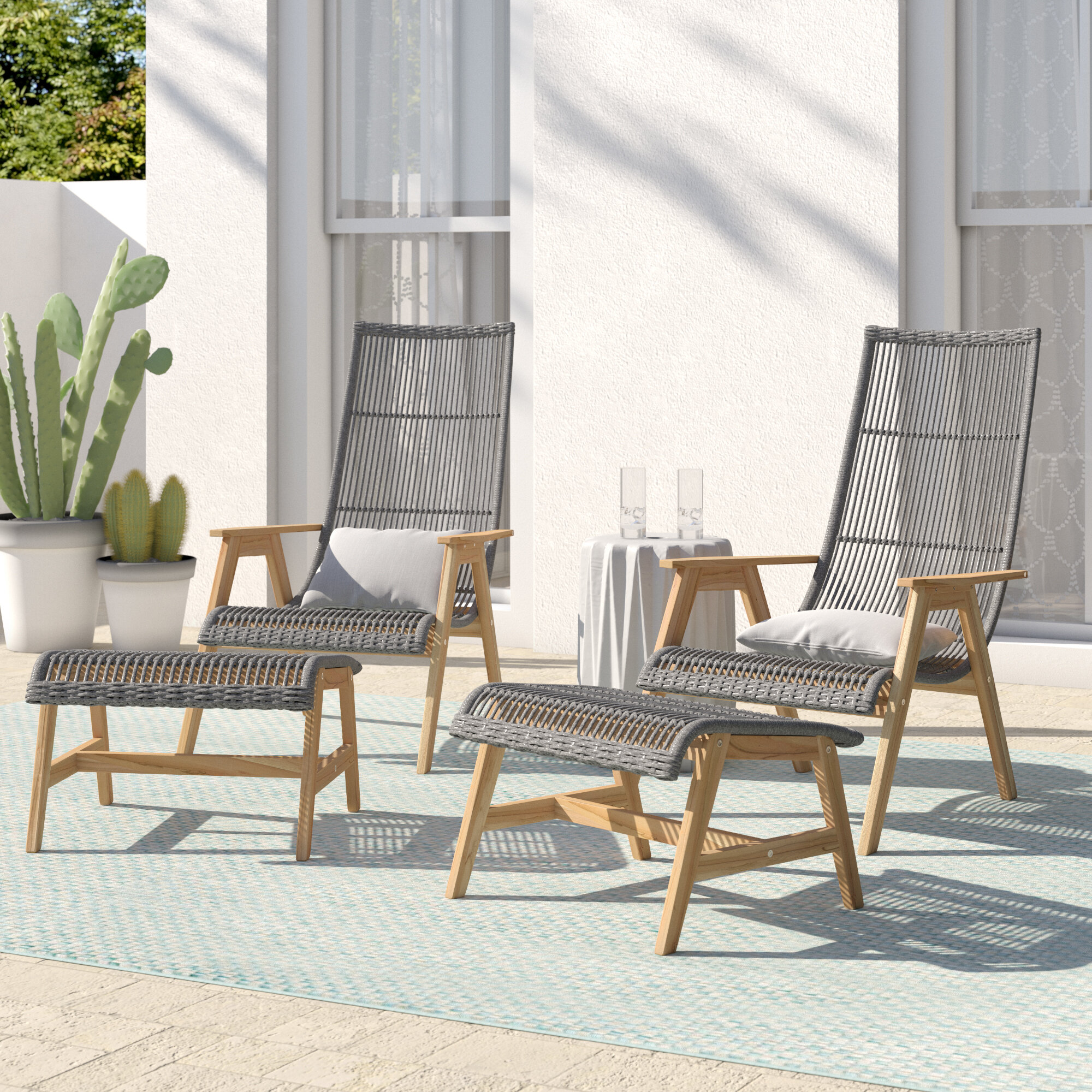Birch Lane Doraville Teak Patio Chair With Cushions And Ottoman Reviews Wayfair