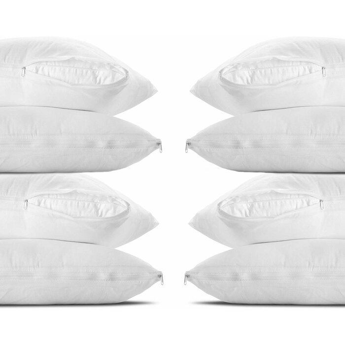 ... 4 Pack Zippered Luxury Quilted Pillow Protector Cover Polycotton Super Soft