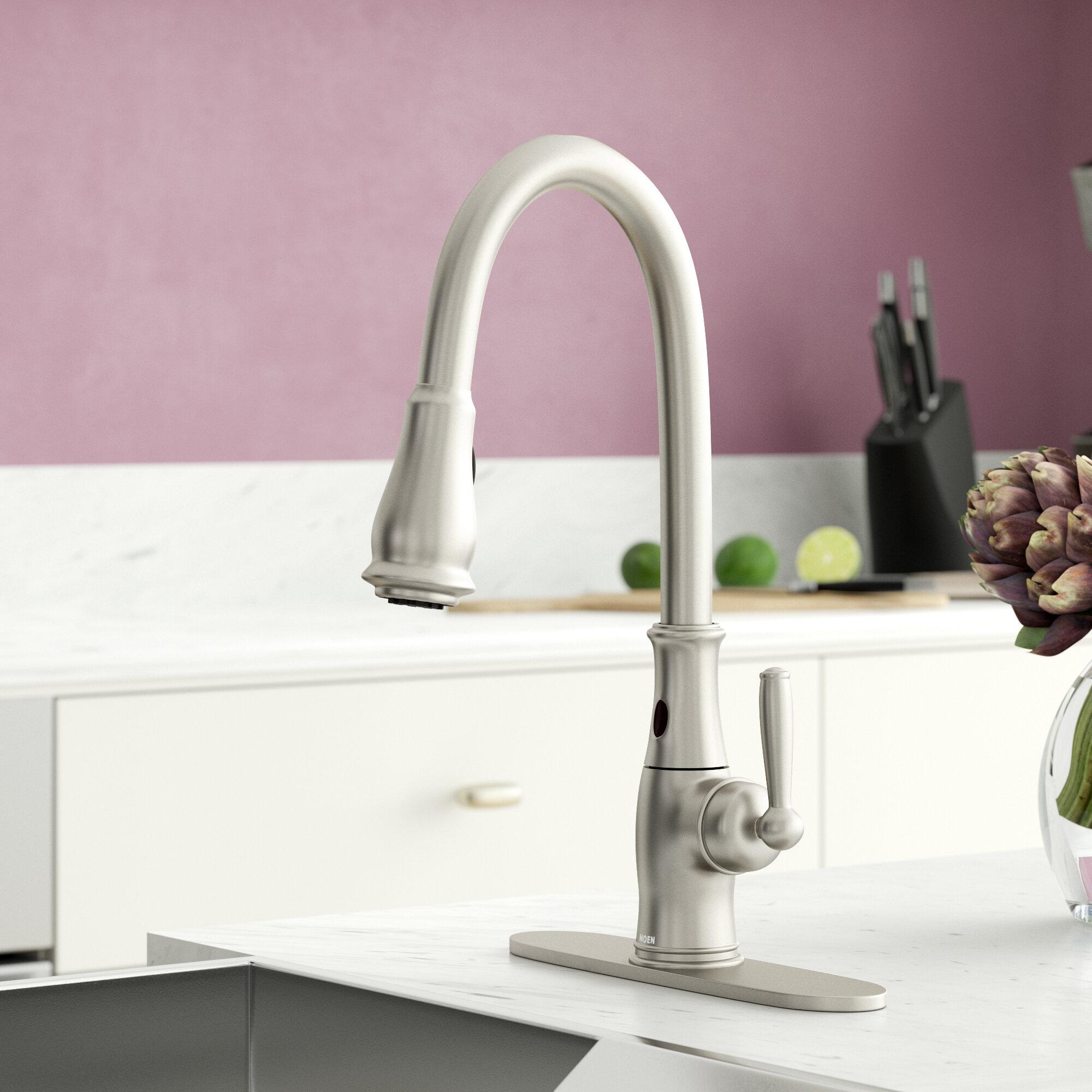 7185esrs C Orb Moen Brantford Pull Down Touchless Single Handle Kitchen Faucet Reviews