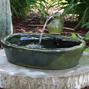 Ceramic Solar Glazed Dove Water Fountain