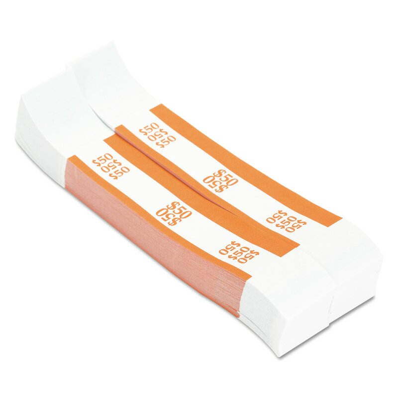 Mmf Industries Self Adhesive Currency Straps 50 In Dollar Bills 1000 Bands Box Wayfair