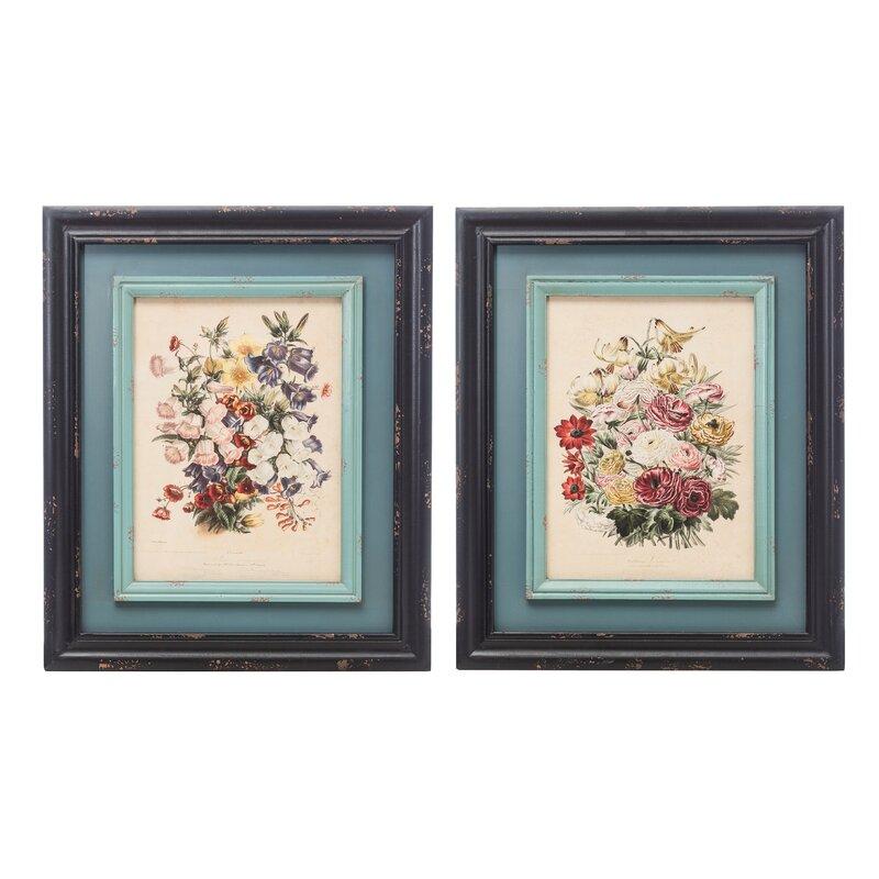 One Allium Way Reproduction Floral 2 Piece Picture Frame Graphic Art Print Set On Paper Reviews Wayfair