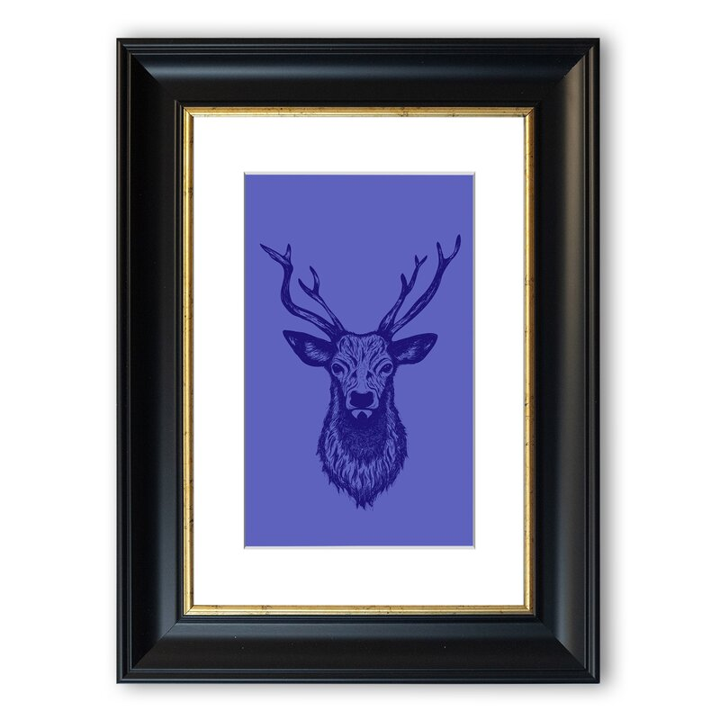 East Urban Home Stag Head 1 Framed Graphic Art Wayfair Co Uk